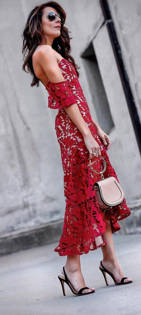 Dark Red Off Shoulder Lace Dress, High Heels And Handbag