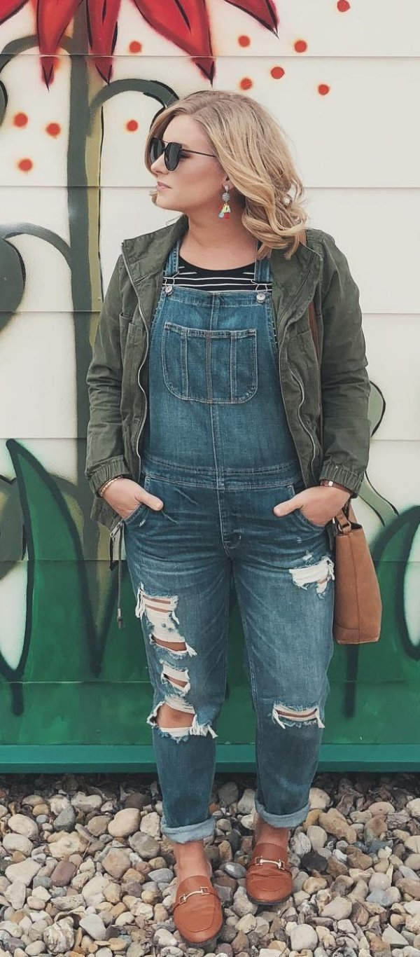 Denim Overals, Jacket, Leather Shoes And Sunglasses