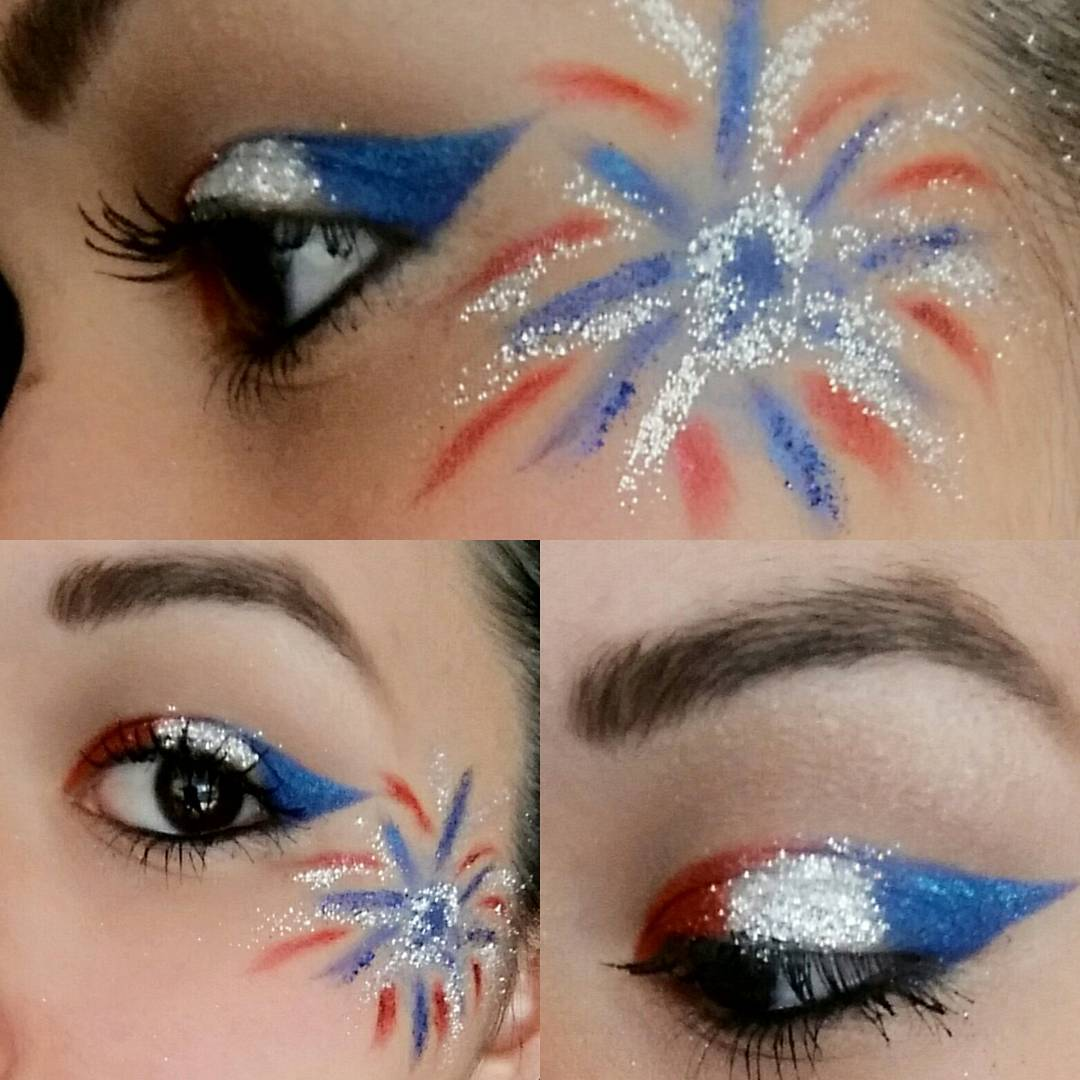 Exclusive Red, White And Blue Makeup Idea