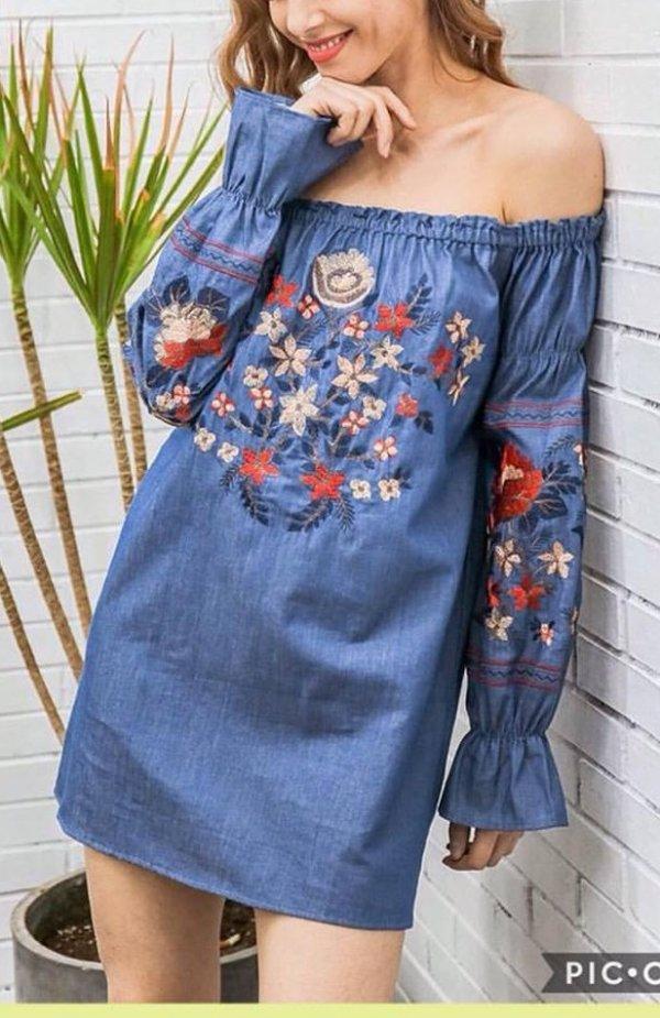 Eye-catching Boho Embroidered Off Shoulder Denim Dress
