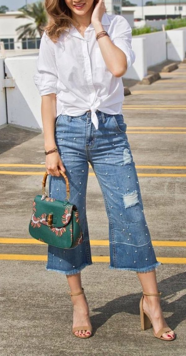 Fabulous Tie Front White Shirts, Pearl Embellished Crop Jeans, High Heels And Gorgeous Handbag