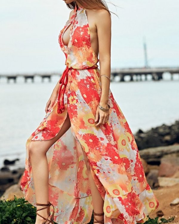 Floral Print Stylish Wrap Dress With High Heels