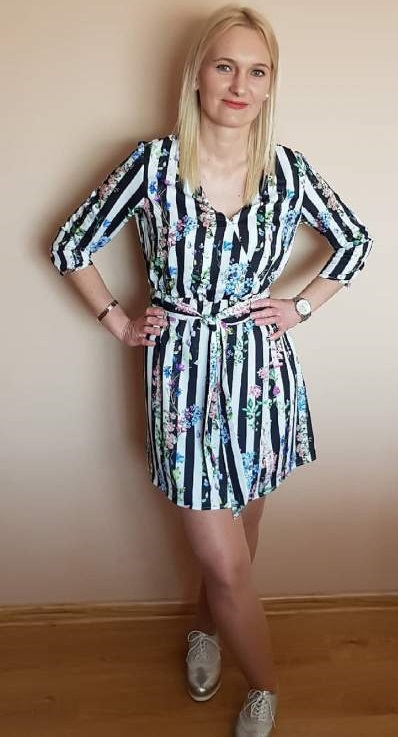 Floral With Stripes Wrap Dress And Silver Sneakers