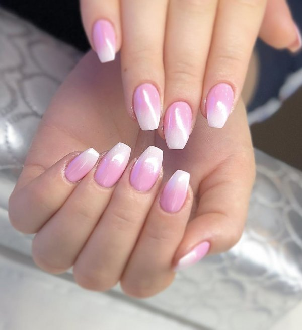 Glamorous Pink Ombre Nails