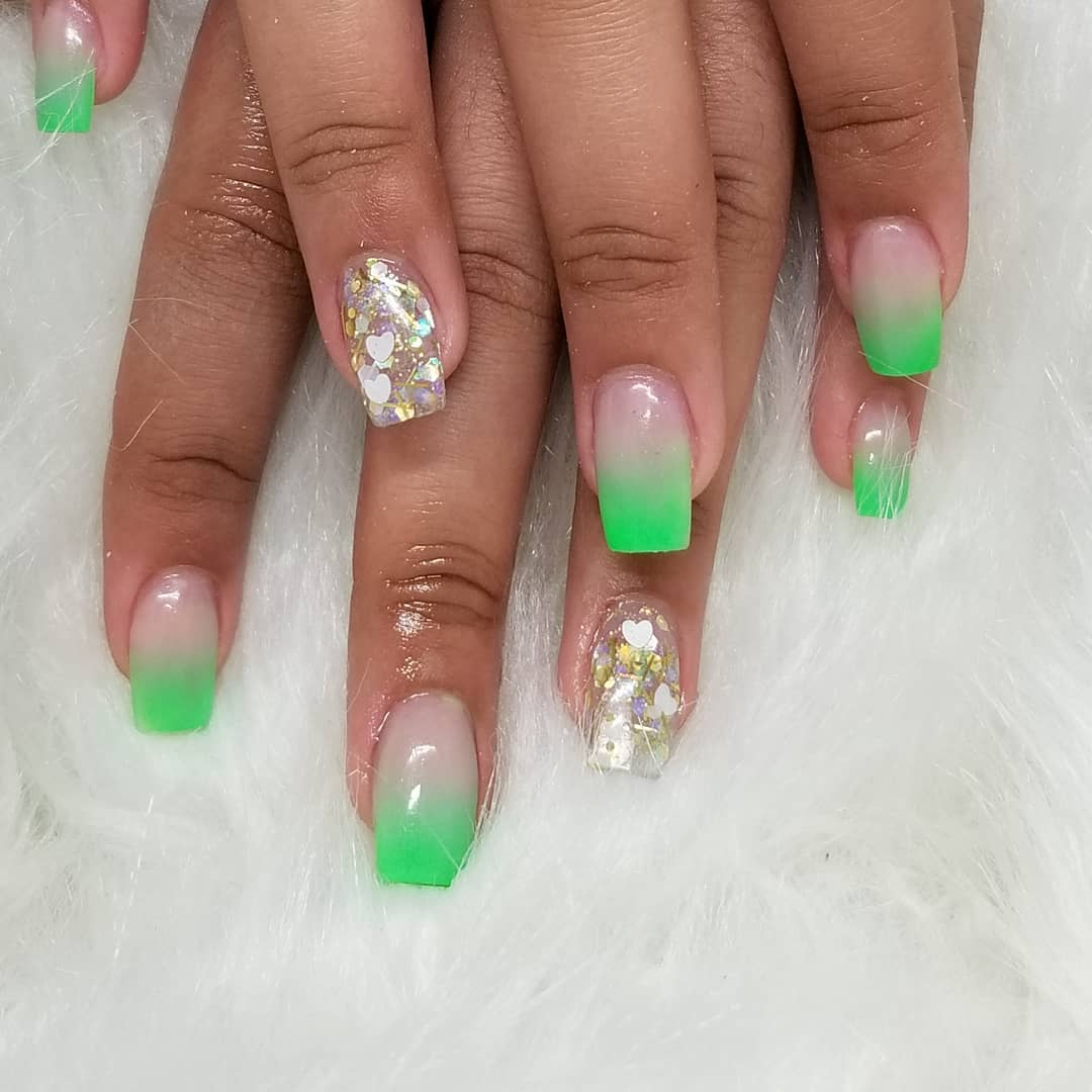 Green Acrylic Ombre Nails