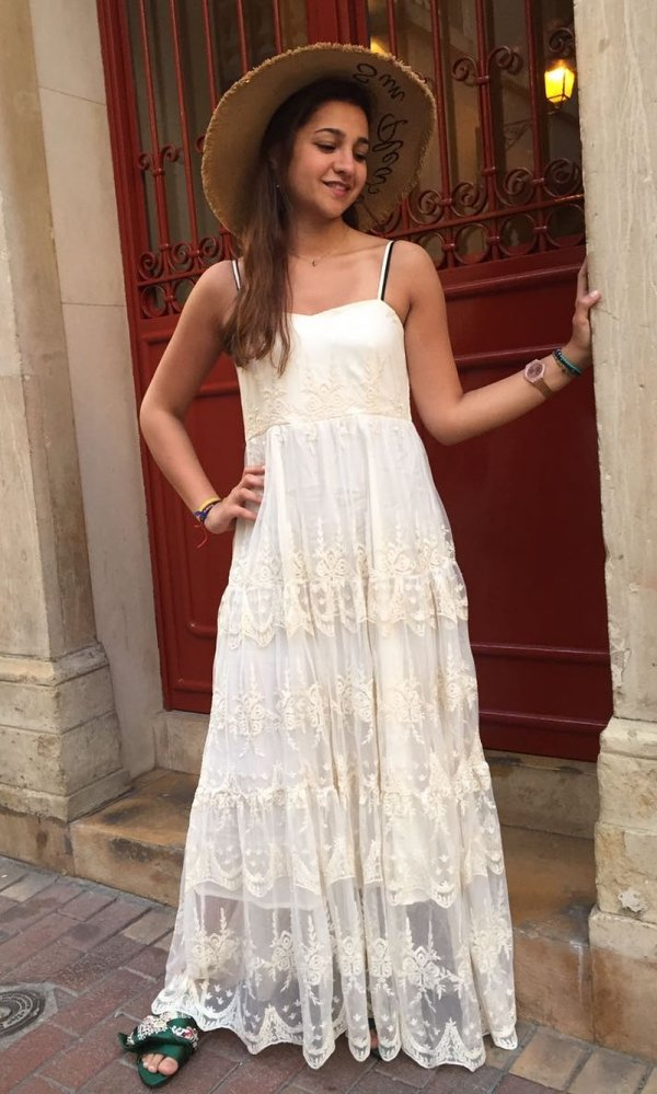 Hippie Style White Long Dress With Hat