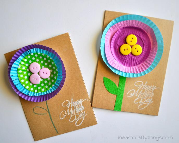 Impressive Cupcake Liner Flowers Mother's Day Card