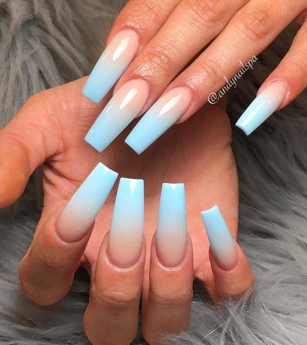 Light Blue Coffin Shape Ombre Nails