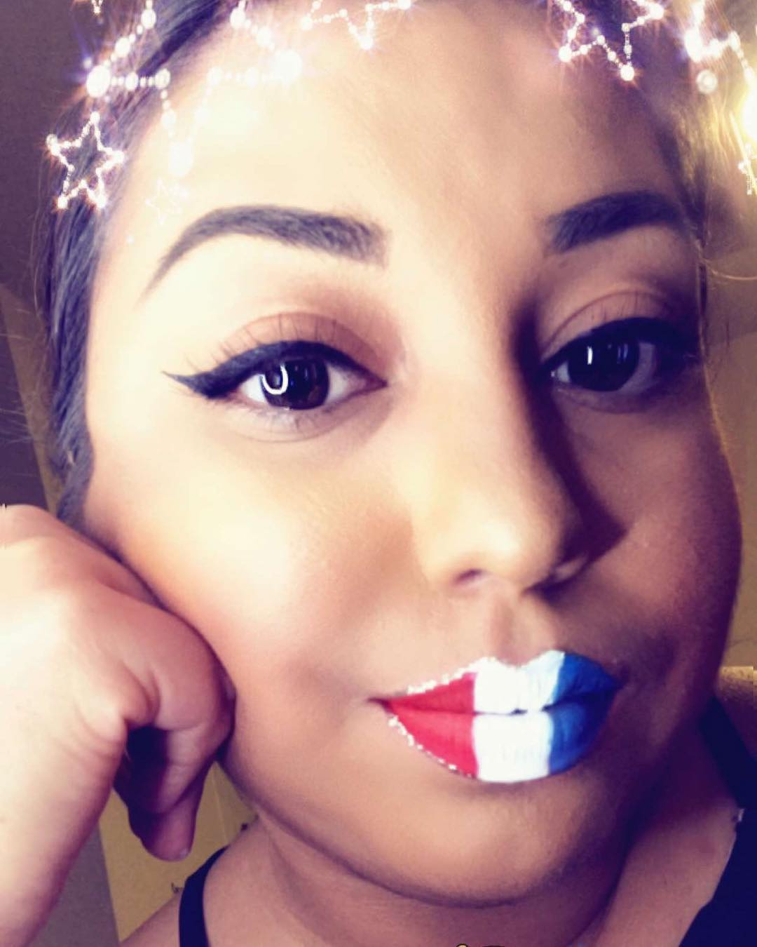 Lip Colored In Red, Blue And White