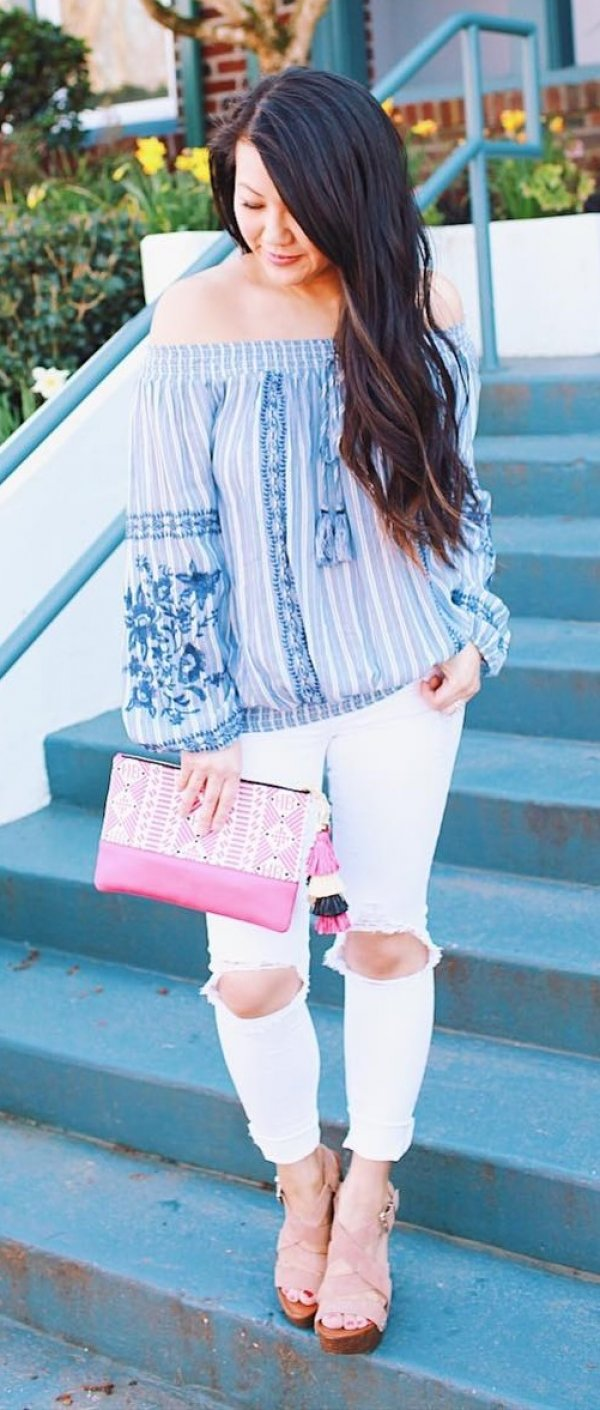 Off Shoulder Blue Top, Distressed Jeans, Pink Purse And High Heels