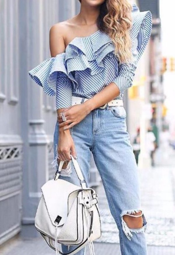 One Shoulder Stripes Ruffle Blouse, Distressed jeans, White Handbag