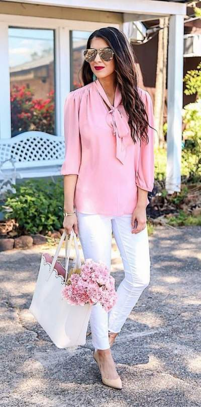 Park Avenue Pink Top Paired With White Jeans And Beige Heels