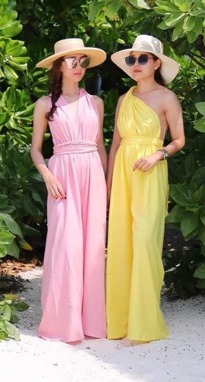 Pink And Yellow One Shoulder Jumpsuit With Hats