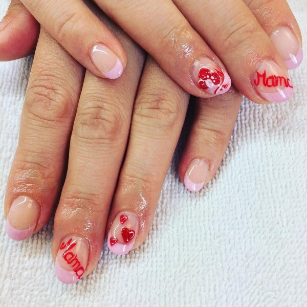 Pink French Tips With Red Hearts