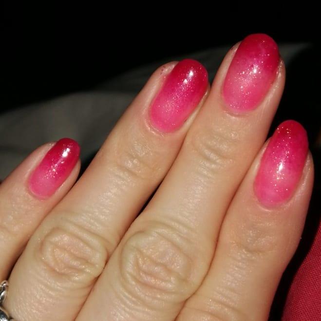 Pink Glittery Almond Nails