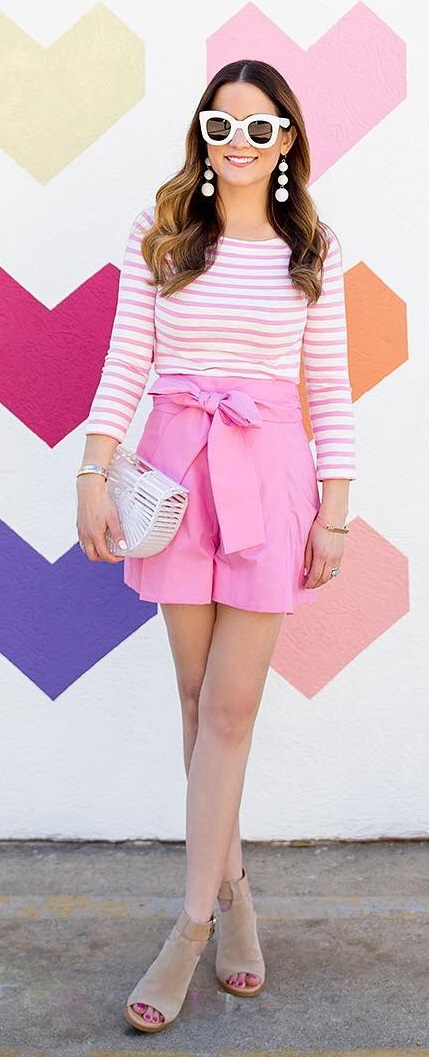 Pink Tie Waist Shorts, Stripes Top, Open Toe Heels And White Frame Sunglasses