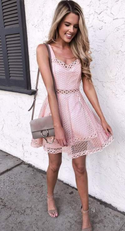 Pretty Pink Dress With High Heels And Handbag