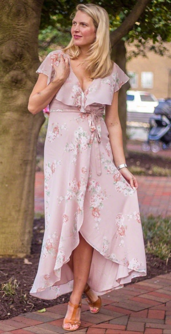 Ravishing Light Color Floral Print Wrap Dress With Sandals