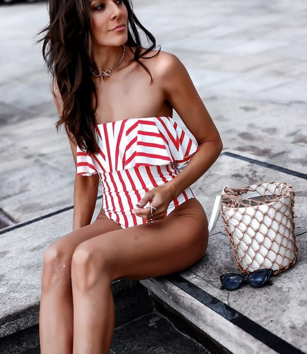 Red And White Bold Stripes Swim Wear