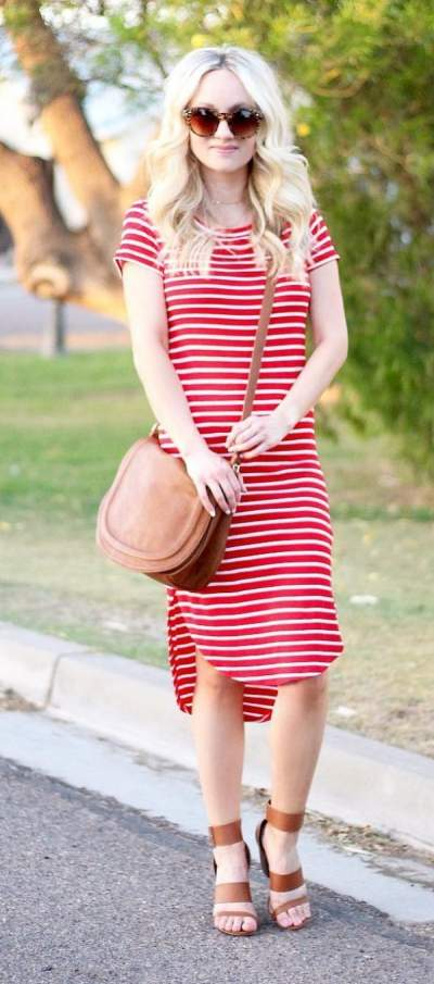 Red And White Striped Dress, Brown leather Summer Sandals And Crossbody Bag
