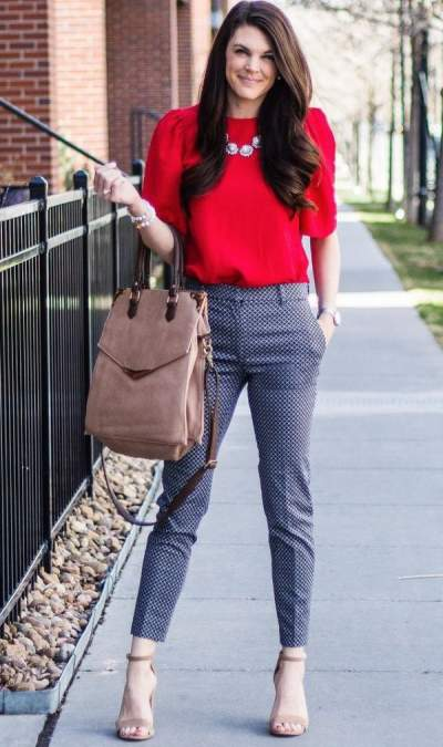 Red Blouse, Stylsh Crop Trouser, High Heels And Handbag Perfect For Office__1524025876_106.223.200.93