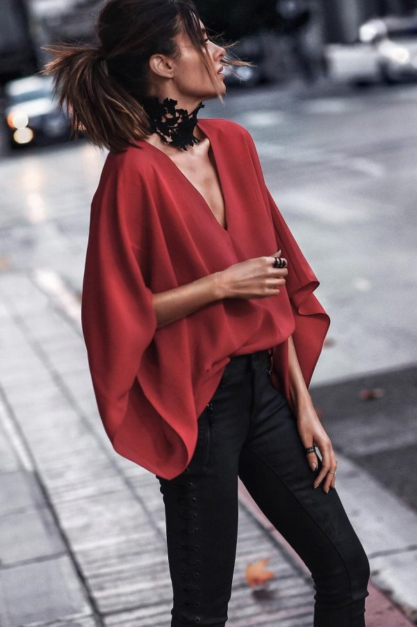 Red Draping Top With High Waist Black Jeans