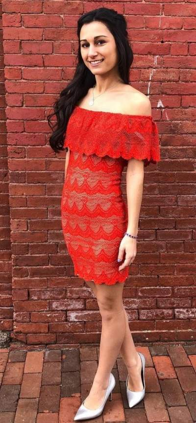 Red Off Shoulder Lace Dress And Silver Heels