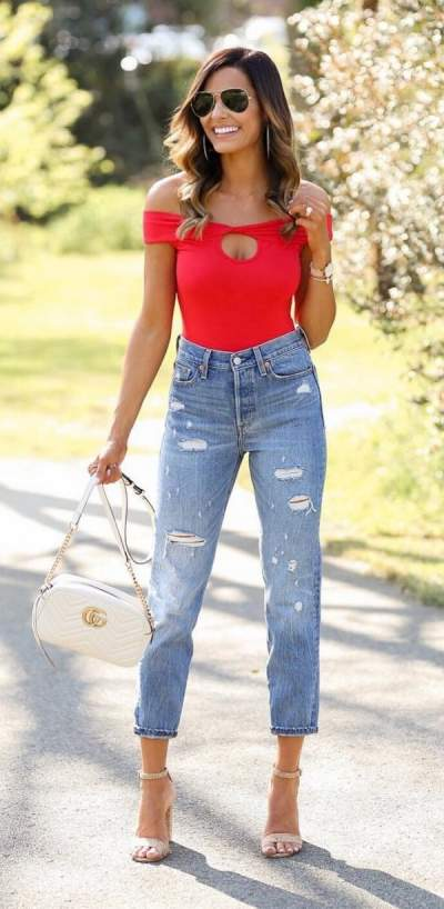 Red Off Shoulder Top, Cropped Jeans, High Heels, Crossbody bag And Sunglasses
