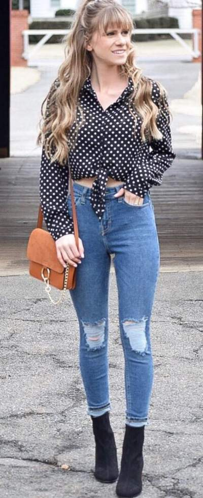 Retro Style Polka Dots Front Knot Top, High Waist Jeans And Ankle Jeans