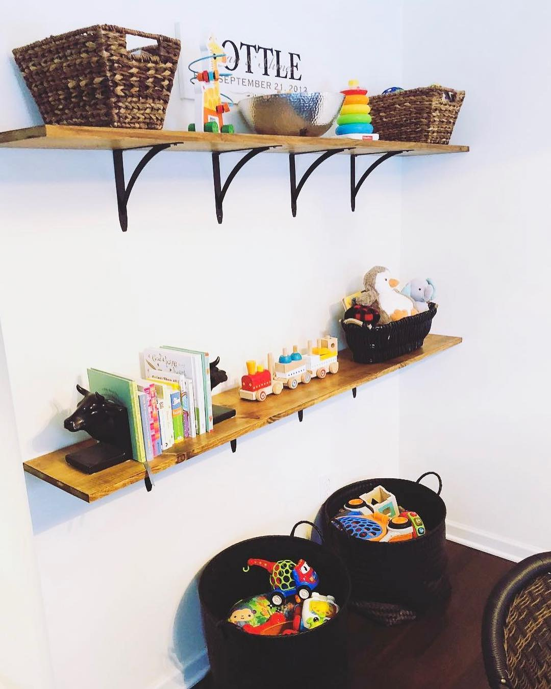 Simple Wood Shelves For Toys Storage