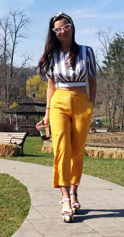 Stripes Crop Top With Bright Yellow Loose Pant