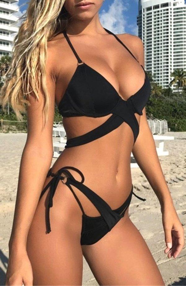 d29861b6ad7 #50 Stunning Black Cross Bandage Halter Bikini Two Piece Swimsuit. Pic  originally posted @teeshirtscn via