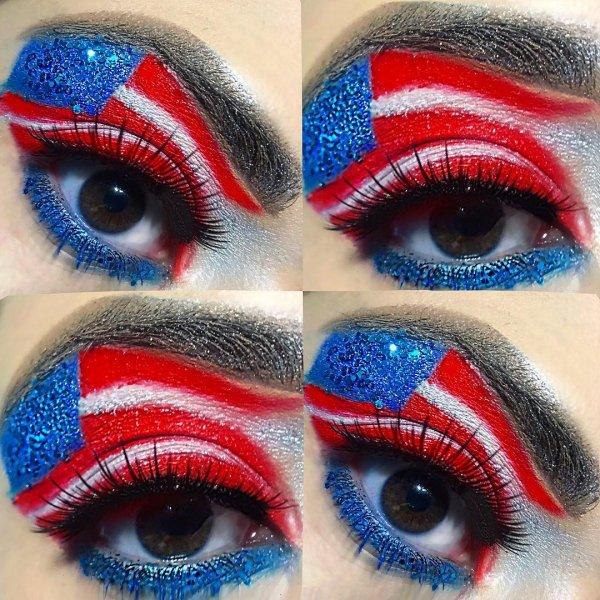 Stunning Flag Theme Eye Makeup