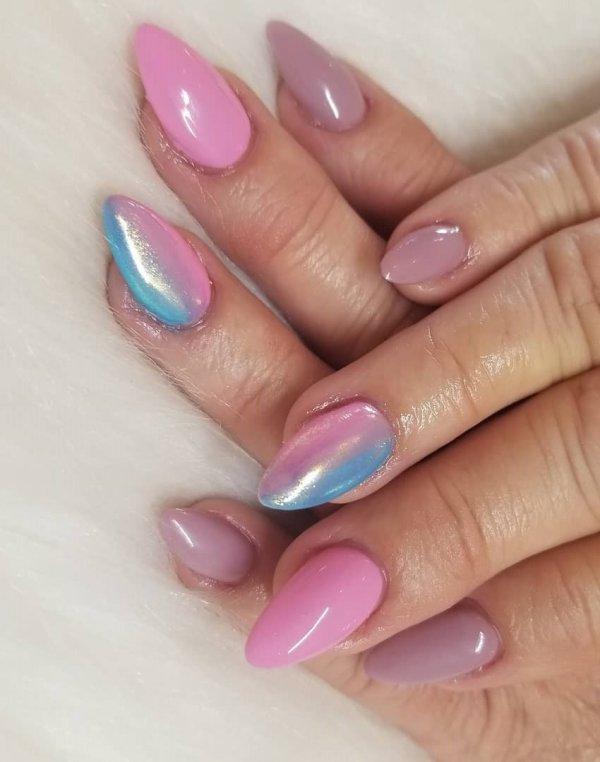 Tri-Color Almond Nails