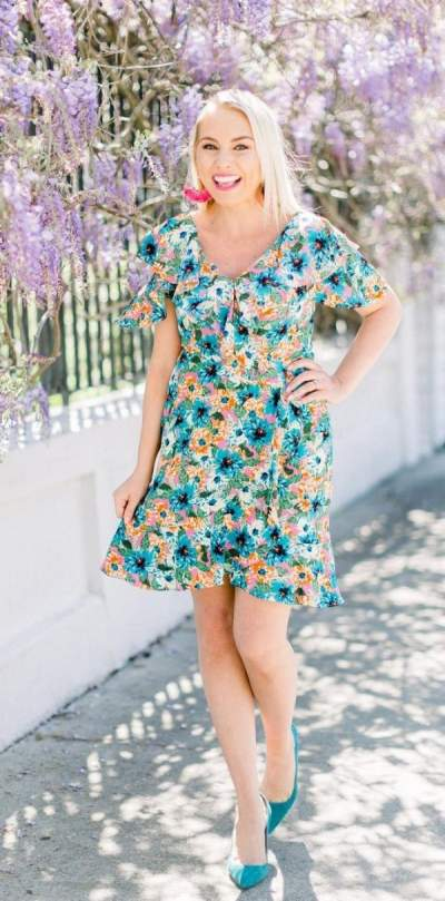 Turquise Floral Print Dress With Matching Heels And Earrings