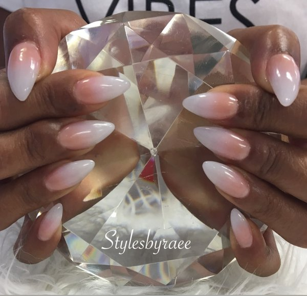White And Peach Ombre Nails For Summer