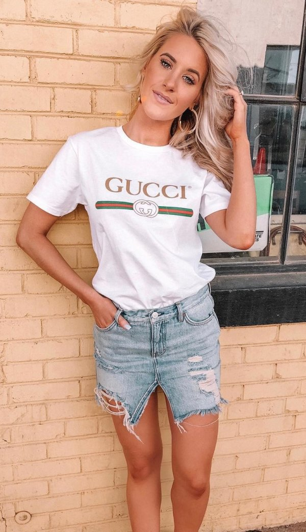 White Gucci Tee Shirt And Denim Jeans