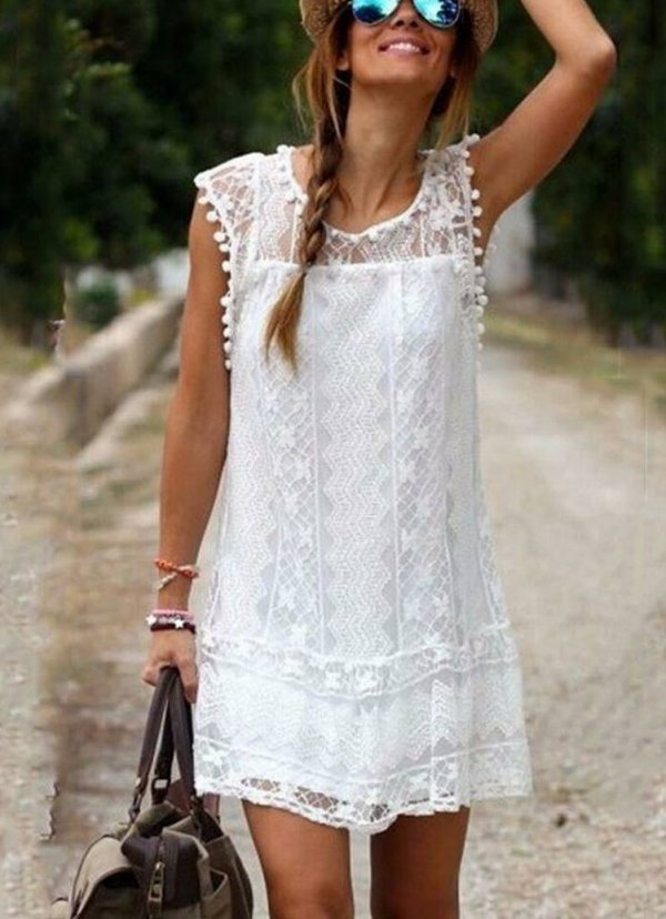 White Lace Pattern Dress With Hat