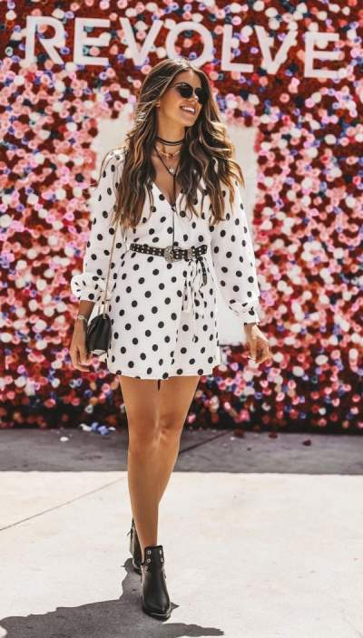 White Polka Dots Wrap Dress, Ankle Boots, Sunglasses And Handbag