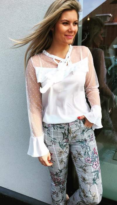 White Shear Top Paired With Floral Print Gray Trouser