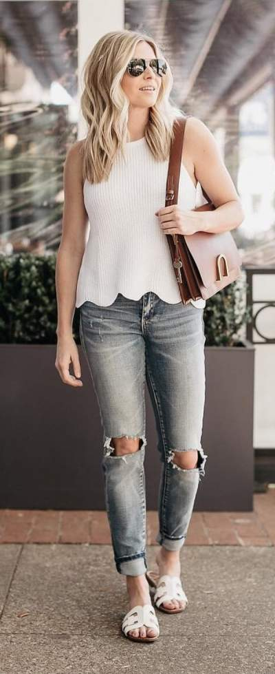 White Sleeveless Scallop Cut Top With Distressed Jeans And Flats