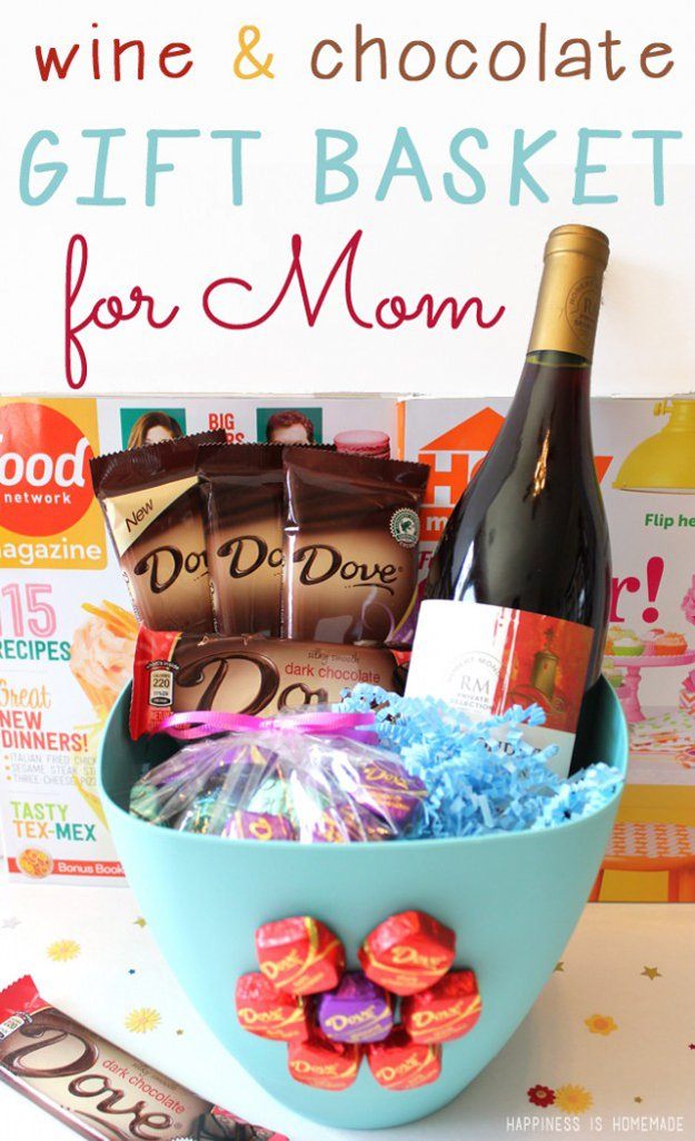 43 Wine And Chocolate Gift Basket For Your Mom Via