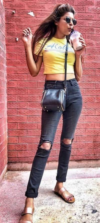 Yellow Crop Top, Distressed Jeans And Flats; A Good Combination For Summer Outfits