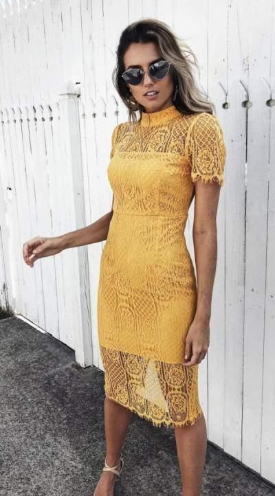 Yellow Knee Length Mesh Midi