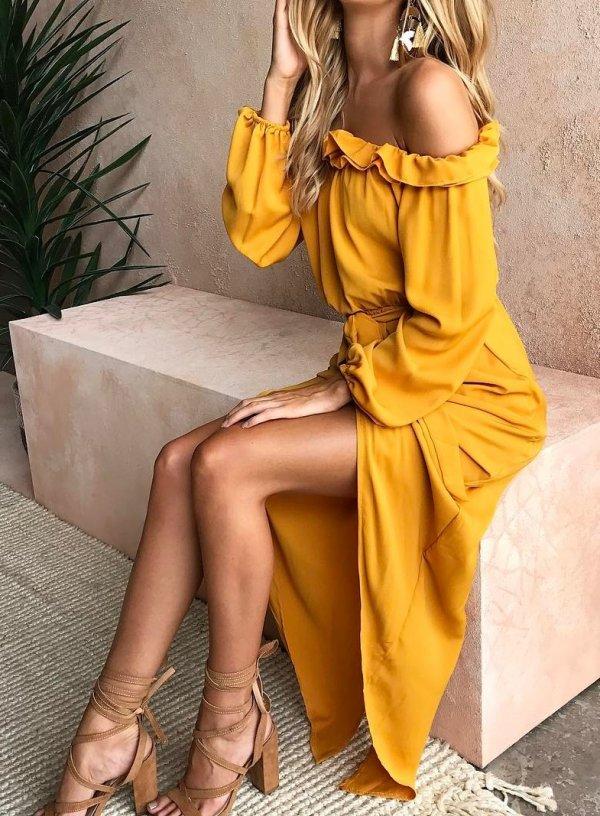 Yellow Ruffle Off Shoulder Maxi Dress With Beige High Heels
