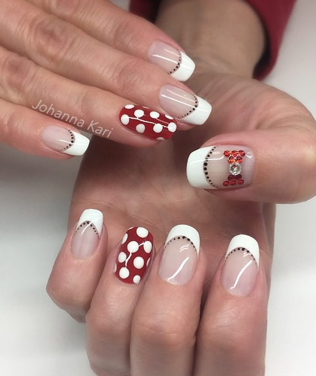 Absolutely Chic Dotted French Nail Art Design