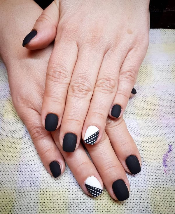 Adorable Black And White Nails With White Dots