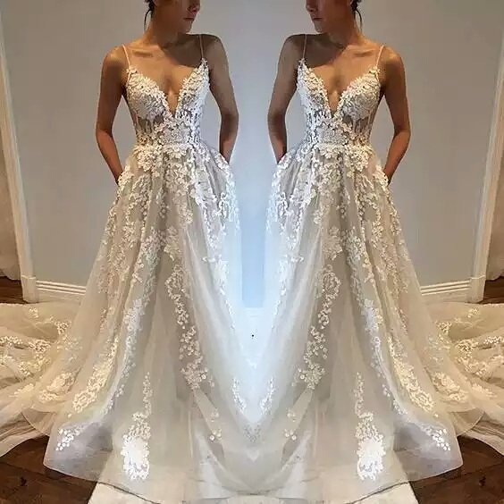 Adorable Spaghetti Strap A-line Shear Wedding Gown