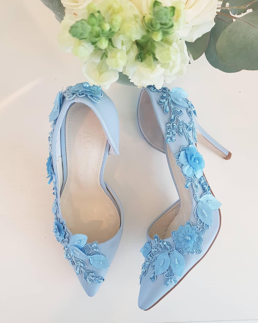 Alluring Aqua Handmade High Heels For Bride