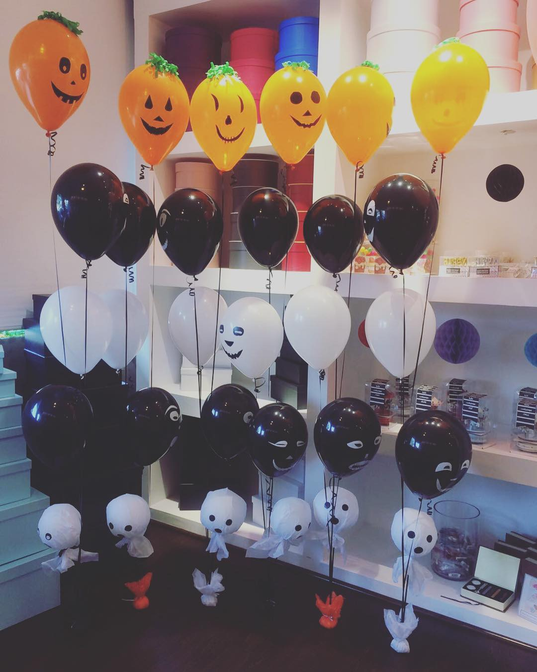 Alluring Black, Orange And White Balloon Decoration Ghost Stickers